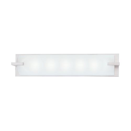 Sonneman Lighting Modern Bathroom Light with White Glass in Satin Nickel Finish 3795.13