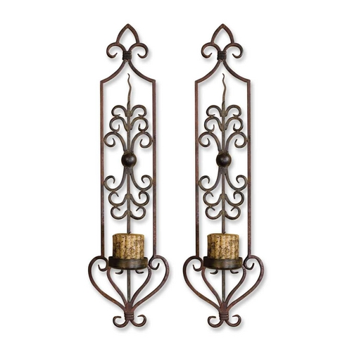 Uttermost Lighting Candle Holder in Mahogany Rust / Olive Bronze Finish 20987