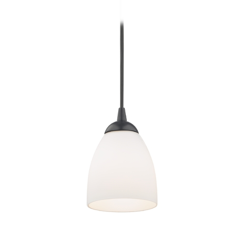 Design Classics Lighting Black Mini-Pendant Light with White Bell Glass 582-07  GL1028MB