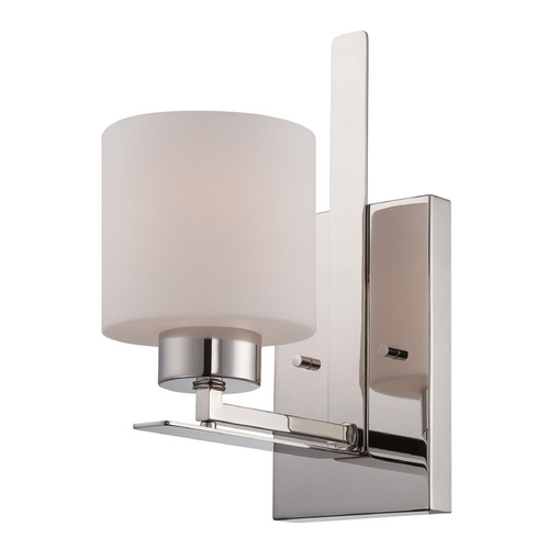 Nuvo Lighting Sconce Wall Light with White Glass in Polished Nickel Finish 60/5201