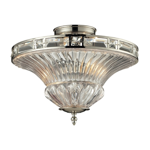 Elk Lighting Crystal Semi-Flushmount Light with Clear Glass in Polished Nickel Finish 31500/2