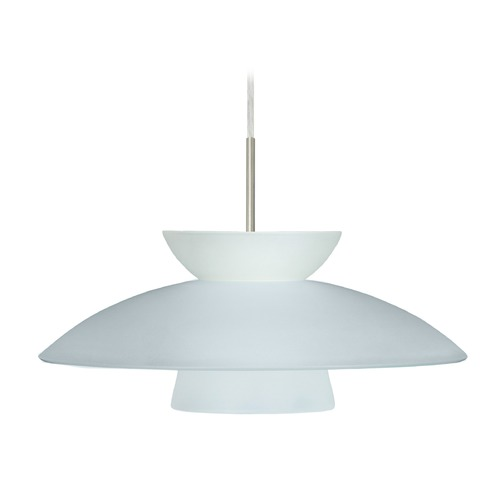 Besa Lighting Besa Lighting Trilo Frosted Glass Satin Nickel LED Pendant Light 1JT-451325-LED-SN