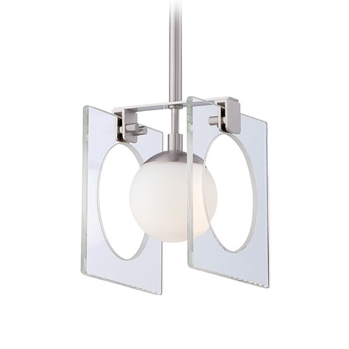 George Kovacs Lighting Mid-Century Modern Mini-Pendant Light Brushed Nickel Hole-In-One by George Kovacs P991-084