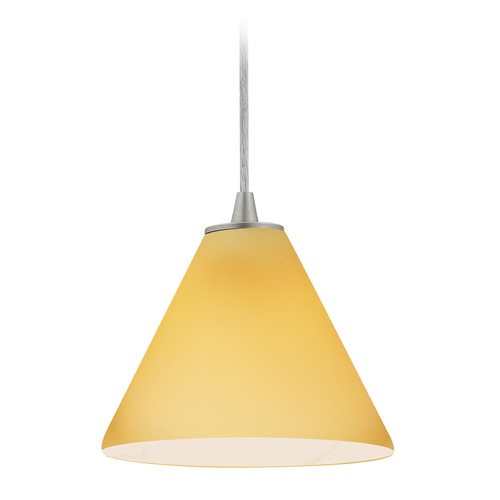 Access Lighting Access Lighting Martini Brushed Steel LED Mini-Pendant Light with Conical Shade 28004-3C-BS/AMB