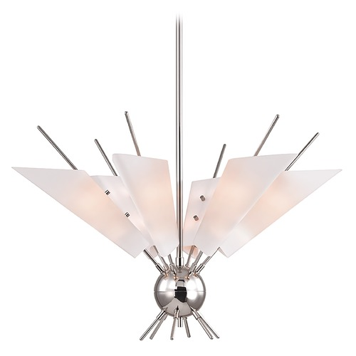 Hudson Valley Lighting Mid-Century Modern Polished Nickel LED Chandelier by Hudson Valley 8066-PN
