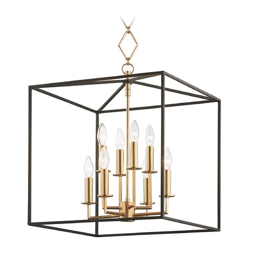 Hudson Valley Lighting Hudson Valley Aged Brass and Black Cage Pendant Light BKO151-AGB/BK
