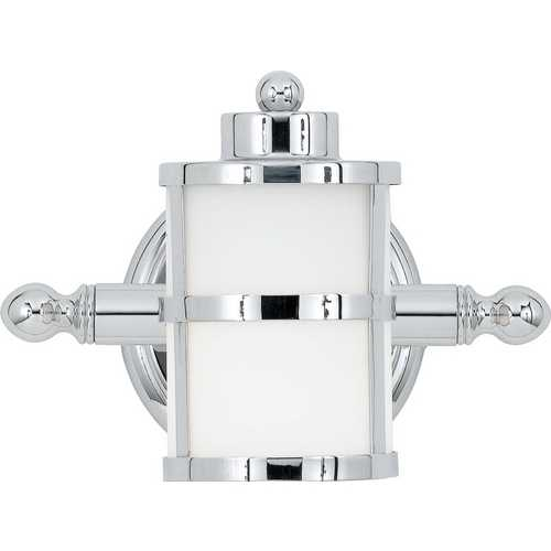 Quoizel Lighting Modern Sconce with White Glass in Polished Chrome Finish TB8601C