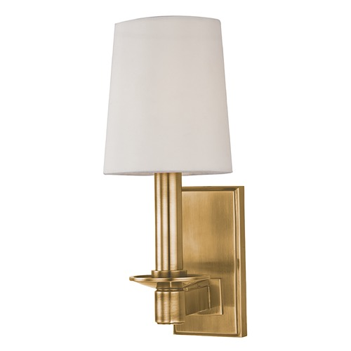 Hudson Valley Lighting Sconce Wall Light with White Paper Shade in Aged Brass Finish 151-AGB