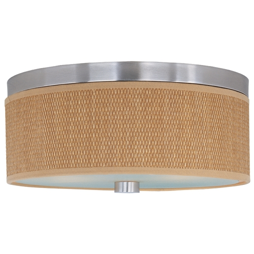 ET2 Lighting Modern Flushmount Light with Brown Shades in Satin Nickel Finish E95002-101SN