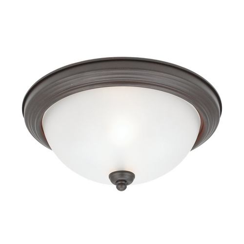 Sea Gull Lighting Flushmount Light with White Glass in Misted Bronze Finish 77064-814
