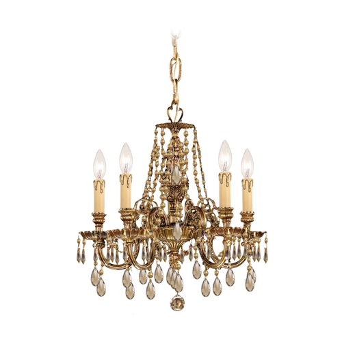 Crystorama Lighting Crystal Mini-Chandelier in Olde Brass Finish 2805-OB-GTS