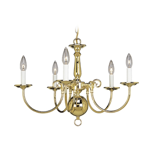Progress Lighting Progress Williamsburg Chandelier in Polished Brass Finish P4346-10