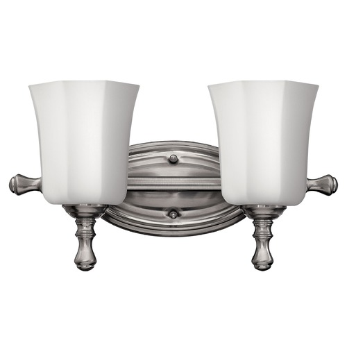 Hinkley Bathroom Light with White Glass in Brushed Nickel Finish 5012BN