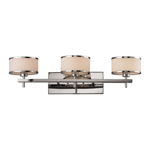 Elk Lighting Modern Bathroom Light with White Glass in Polished Chrome Finish 11417/3