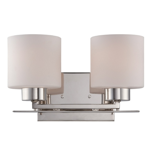Nuvo Lighting Bathroom Light with White Glass in Polished Nickel Finish 60/5202