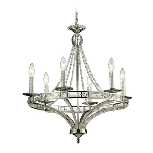 Elk Lighting Crystal Chandelier in Polished Nickel Finish 31501/6