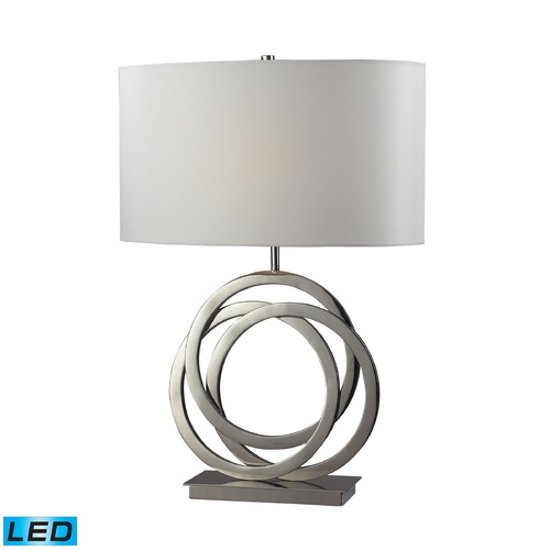 Dimond Lighting Dimond Lighting Polished Nickel LED Table Lamp with Oval Shade D2058-LED
