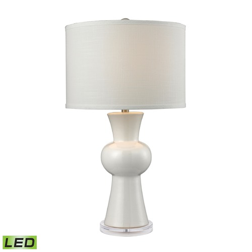 Dimond Lighting Dimond Lighting Gloss White LED Table Lamp with Drum Shade D2618-LED