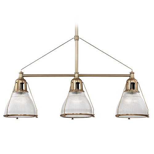 Hudson Valley Lighting Hudson Valley Lighting Haverhill Aged Brass Island Light with Bowl / Dome Shade 7313-AGB