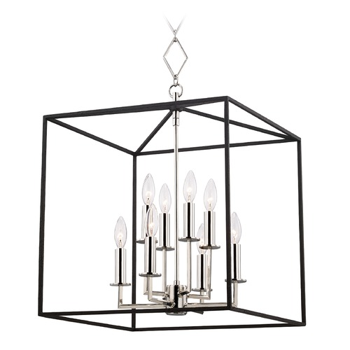 Hudson Valley Lighting Hudson Valley Polished Nickel and Black Cage Pendant Light BKO151-PN/BK