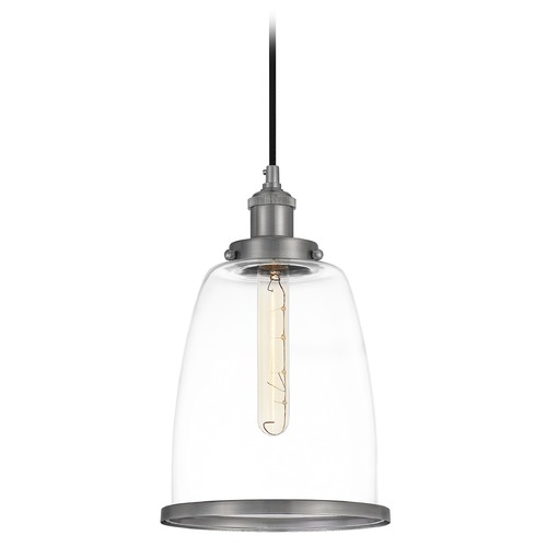 Quoizel Lighting Quoizel Lighting Leo Antique Nickel Pendant Light with Bowl / Dome Shade LEOC1508AN