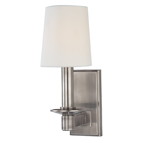 Hudson Valley Lighting Sconce Wall Light with White Shade in Historic Nickel Finish 151-HN
