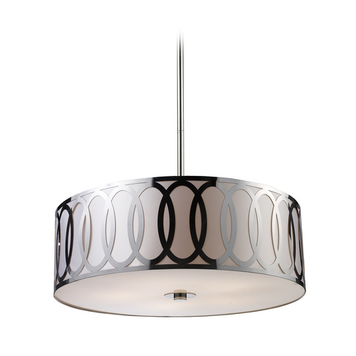 Elk Lighting Modern Drum Pendant Light with Silver Shade in Polished Nickel Finish 10174/5
