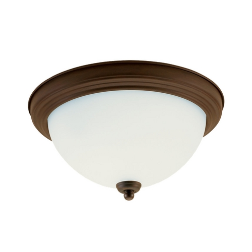 Sea Gull Lighting Flushmount Light with White Glass in Russet Bronze Finish 77064-829