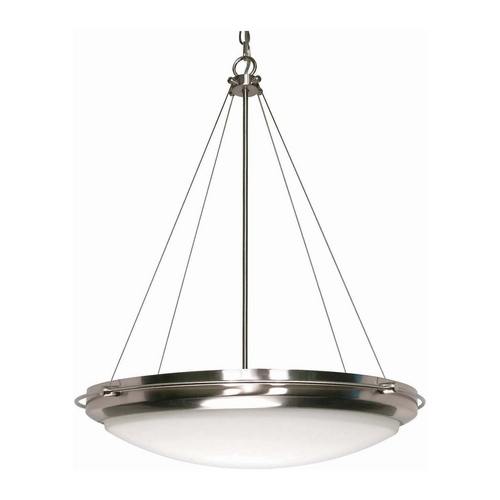 Nuvo Lighting Modern Pendant Light with White Glass in Brushed Nickel Finish 60/610