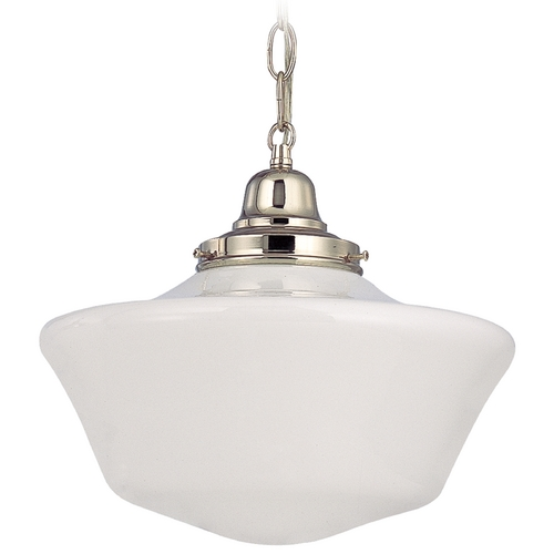 Design Classics Lighting 12-Inch Schoolhouse Pendant Light with Chain in Polished Nickel FB4-15 / GA12 / B-15