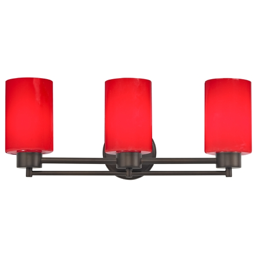 Design Classics Lighting Modern Bathroom Light with Red Glass in Bronze Finish 703-220 GL1008C