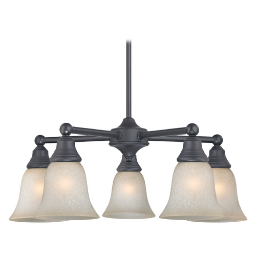 Design Classics Lighting Black Chandelier with Art Glass 5 Lt 597-07 GL9222-CAR