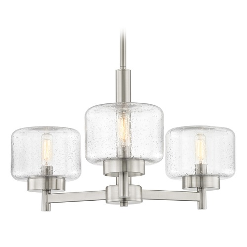 Design Classics Lighting Industrial Seeded Glass Chandelier Satin Nickel 3-Lt 2973-09