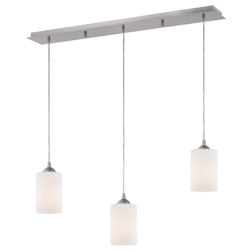 Design Classics Lighting 36-Inch Linear Pendant with 3-Lights in Satin Nickel Finish with Satin White Glass 5833-09 GL1028C