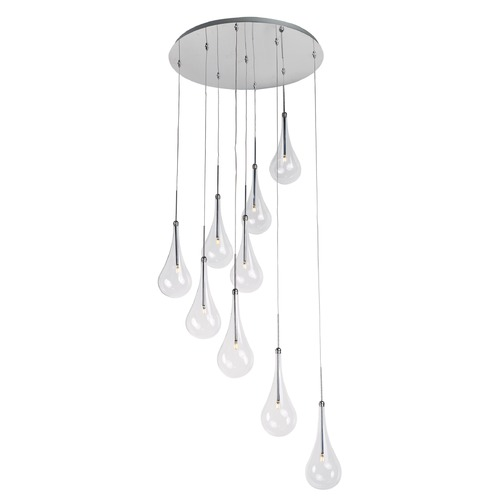 ET2 Lighting Larmes LED Polished Chrome LED Multi-Light Pendant with Globe Shade E20515-18PC