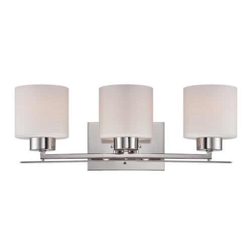 Nuvo Lighting Bathroom Light with White Glass in Polished Nickel Finish 60/5203