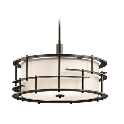 Kichler Lighting Kichler Lighting Tremba Olde Bronze Pendant Light with Drum Shade 43373OZ