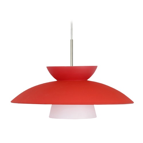 Besa Lighting Besa Lighting Trilo Satin Nickel LED Pendant Light with Urn Shade 1JT-451331-LED-SN