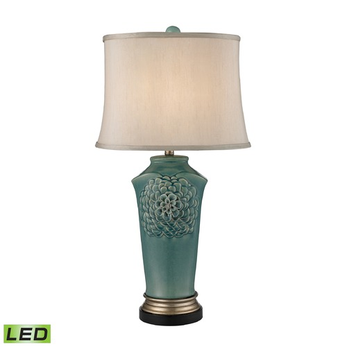 Dimond Lighting Dimond Lighting Medium Seafoam Glaze, Gold, Bronze LED Table Lamp with Oval Shade D2626-LED