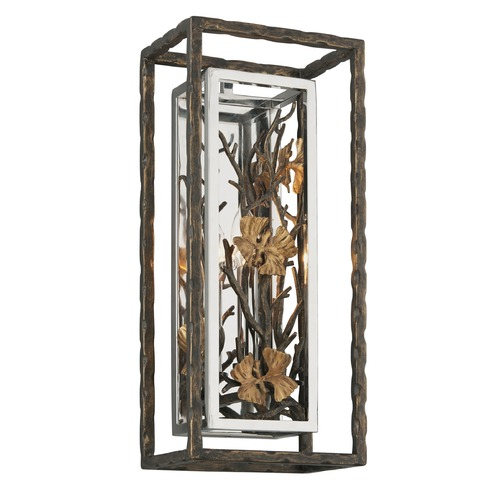 Troy Lighting Troy Lighting Chrysalis Cottage Bronze with Polished Stainless and Gold Leaf Sconce B5291