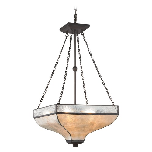 Elk Lighting Elk Lighting Santa Fe Tiffany Bronze Pendant Light with Square Shade 70204/3