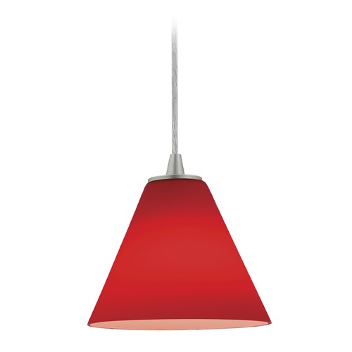 Access Lighting Access Lighting Martini Brushed Steel LED Mini-Pendant Light with Conical Shade 28004-3C-BS/RED