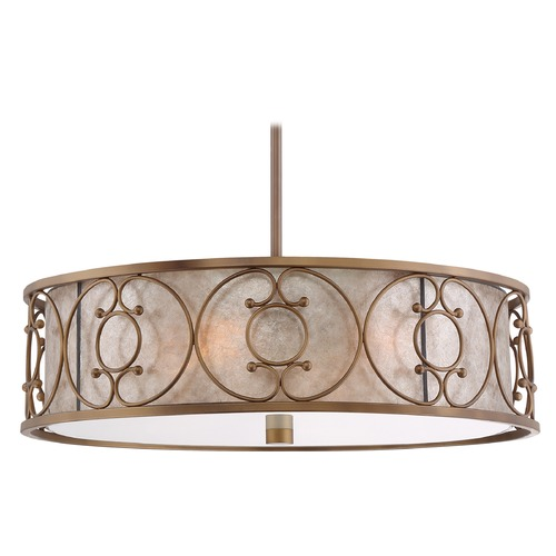 Quoizel Lighting Quoizel Lighting Avondale Empire Brass Pendant Light with Drum Shade ADE2822ER