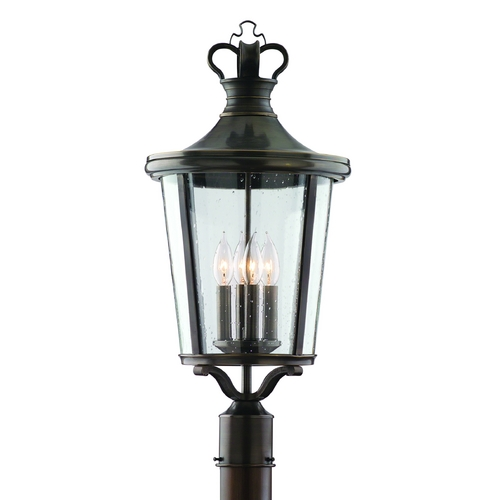 Troy Lighting Post Light with Clear Glass in English Bronze Finish P1385EB