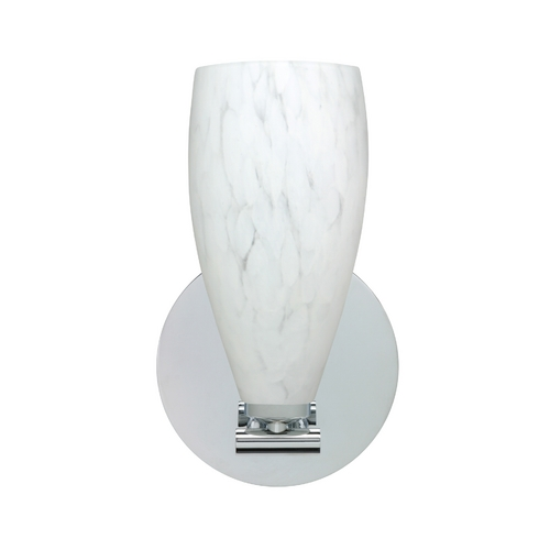 Besa Lighting Modern Sconce Wall Light with White Glass in Polished Nickel Finish 1SX-719819-PN