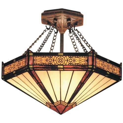 Elk Lighting Semi-Flushmount Light with Tiffany Glass in Aged Bronze Finish 621-AB