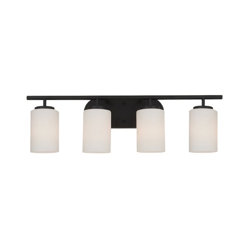 Sea Gull Lighting Modern Bathroom Light with White Glass in Blacksmith Finish 41163-839