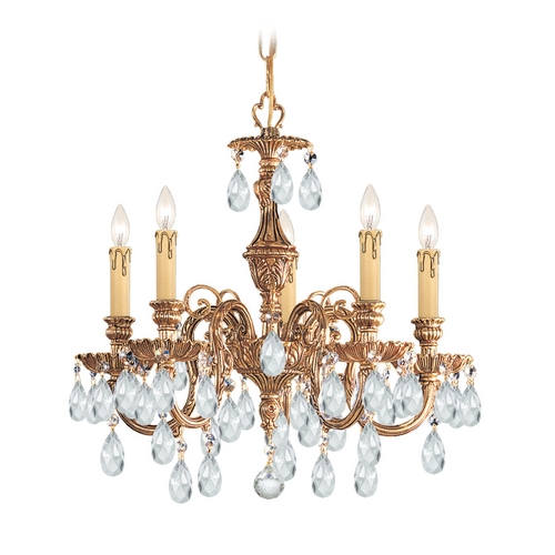 Crystorama Lighting Crystal Mini-Chandelier in Olde Brass Finish 2905-OB-CL-S