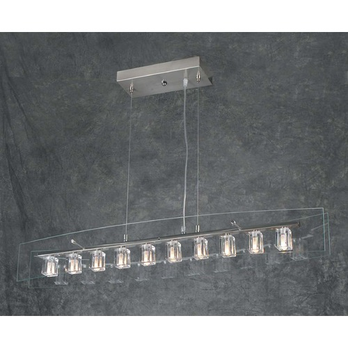 PLC Lighting Modern Pendant Light with Clear Glass in Satin Nickel Finish 1538 SN