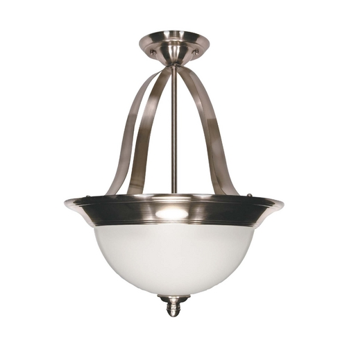 Nuvo Lighting Modern Pendant Light with White Glass in Smoked Nickel Finish 60/621
